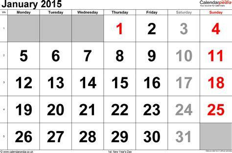 Large 2015 Calendar Template