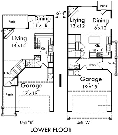 duplex floor plans with garage duplex house plans corner lot duplex house plans d 554 b