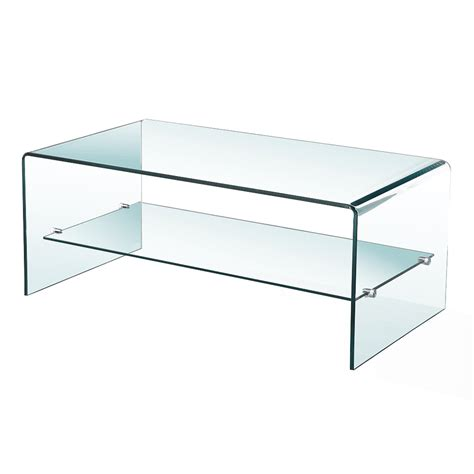 bent glass coffee table with shelf xcella