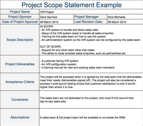 project scope sle template project scope statement expert program management
