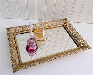 Rectangle Mirrored Vanity Tray Vintage Gold Filigree Mirror Vanity Tray Rectangle Tray