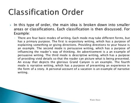 Classification Pattern Writing | 4 patterns of organization