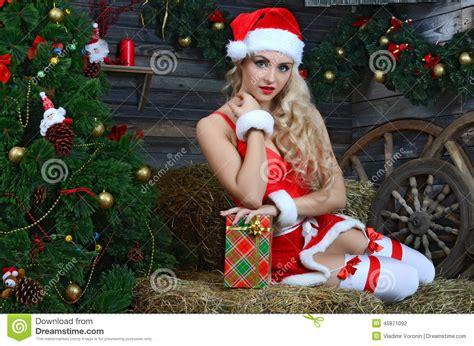 nearby christmas tree smiling santa near the tree stock photo image 45871092
