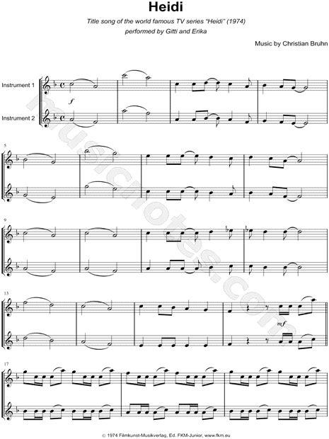 heidi testo canzone quot heidi quot from heidi 1974 sheet in f major