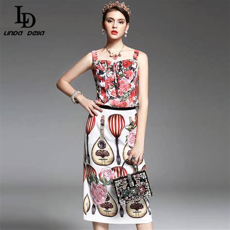 Hq 14819 Set Top Skirt summer new designer runway suit set s 2 high quality floral