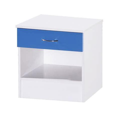 Alpha Drawers by Alpha Blue Gloss White 1 Drawer Bedside Bedside Cabinet