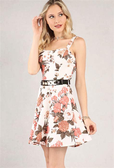 belted floral print a line dress shop dresses at papaya