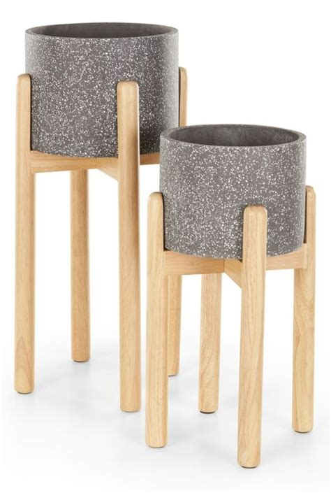 indoor plant pot stands tall standing concrete