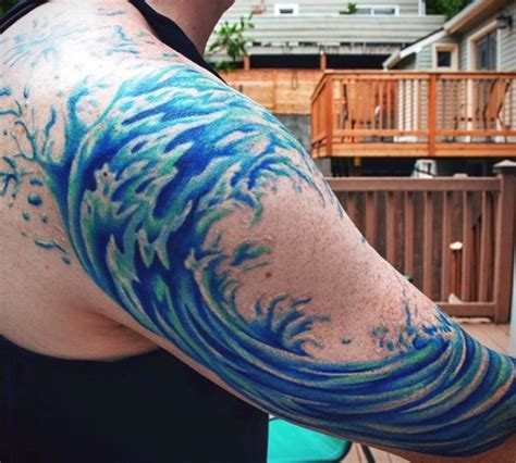wave tattoos for men s great wave half sleeve waves