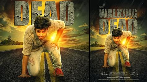 photoshop poster design youtube photoshop tutorial the walking dead movie poster design