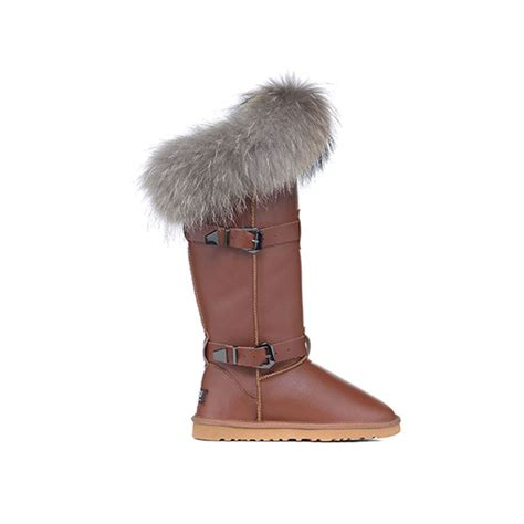 ugg buckle brown fox fur boots