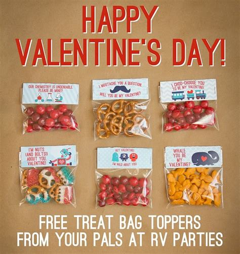 valentines day treats for school free treat bag toppers from rv design stuff