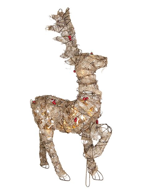 liteup xmas trees and reindeer pre lit jute wrap decoration led rustic reindeer snowman light up ebay