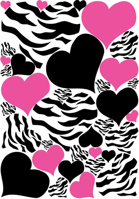 wall stickers hearts pink and black zebra wall stickers hearts pink black