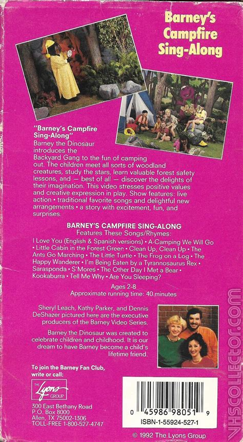 barney and the backyard gang vhs barney s cfire sing along vhs cover nice barney and