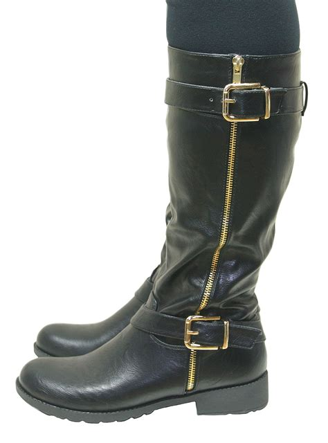 womens knee high flat low chunky heel wide fit biker