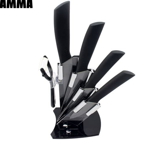 quality kitchen knives brands amma brand 2015 new arrival 3 quot 4 quot 5 quot 6 quot peeler knife holder ceramic knife set black blade
