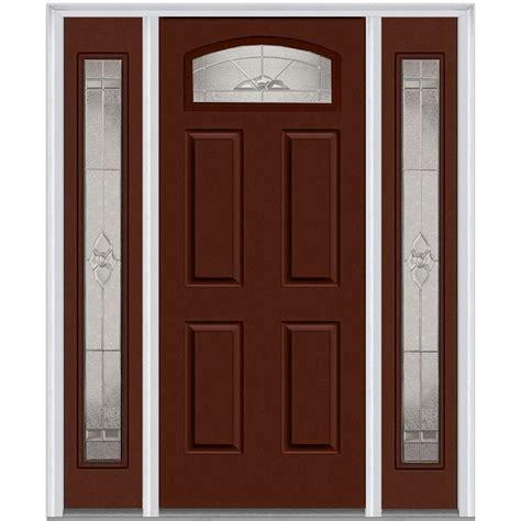 4 Lite Exterior Door Mmi Door 64 In X 80 In Master Nouveau Left 1 4 Lite 4 Panel Classic Painted Steel Prehung