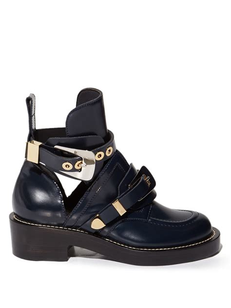 Cut Out Boots by Balenciaga Ceinture Cut Out Leather Ankle Boots In Black