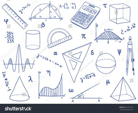 doodle maths for schools sign in illustration mathematics school supplies geometric shapes