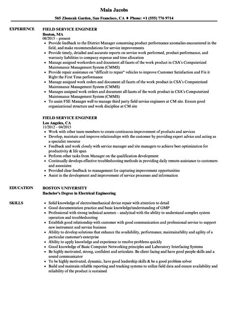 field service engineer resume sle field service bulletin electro choice image diagram