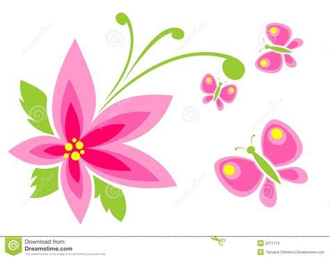 tekening vlinder met bloem roze bloem en vlinder stock foto s afbeelding 2211713