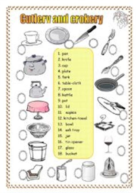 Forks Knives Worksheet Answers by 2 Pages 3 Exercises Cutlery And Crockery
