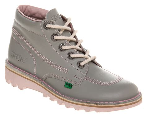 Kickers Glove Safety Boots lyst kickers kick hi womens greypink in gray
