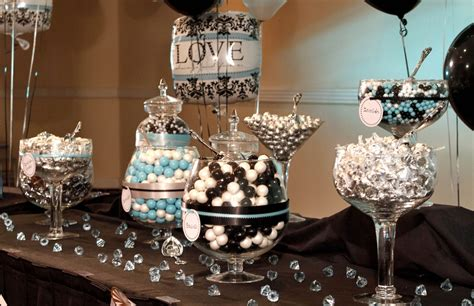 Damask Decorations by Chic Black And White Damask With Teal Bridal Shower Decor