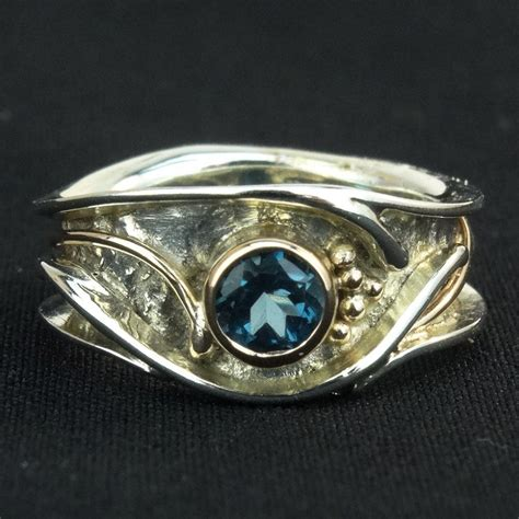 9ct white gold blue topaz ring by les grimshaw pyramid