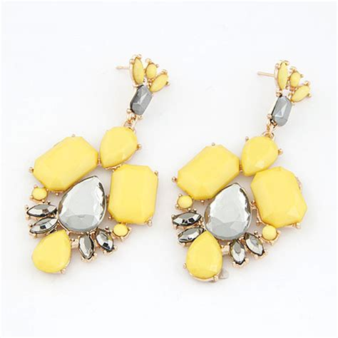 Fashion Earrings E21256 Yellow fashion gold stud earrings for yellow rhinestone 2015 statement earrings bijoux