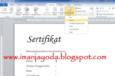 tutorial membuat mail merge di openoffice tutorial membuat mail merge di ms word 2010 iman jayoda