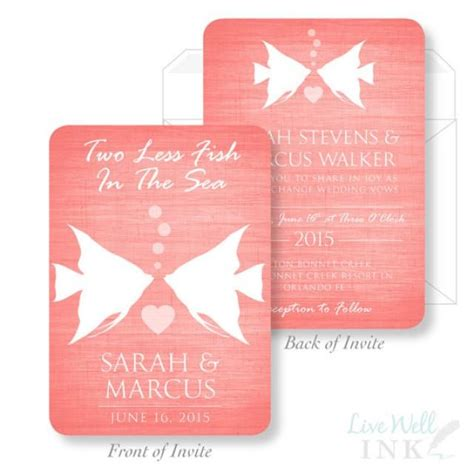 fish wedding invitations printed wedding invitation two less fish in the sea