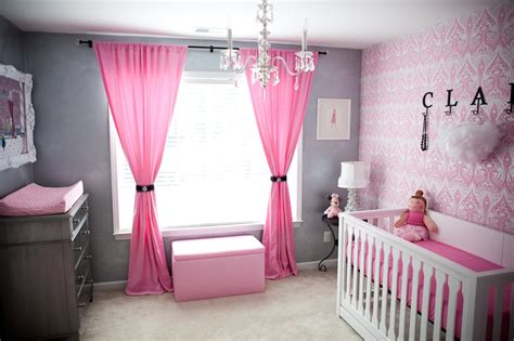 pink and grey girls bedroom vintage glam nursery design dazzle