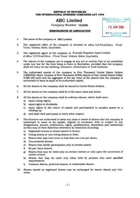 Template Memorandum Of Incorporation Gsl