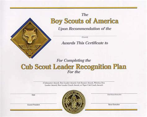 cub scout leader certificate template just b cause