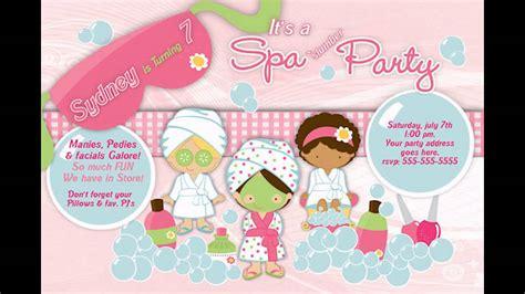 at home spa birthday party invitations youtube