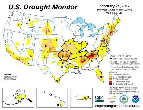 us drought map u s drought monitor update for february 28 2017 national centers for environmental