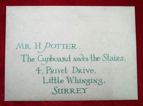 Harry Potter Acceptance Letter Envelope Les Hemstock Used Harry Potter Envelope Warner Bros Coa