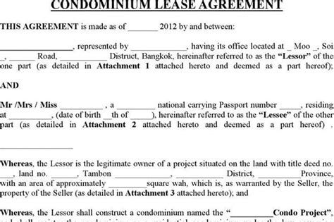 condo lease agreement template rent and lease template free premium