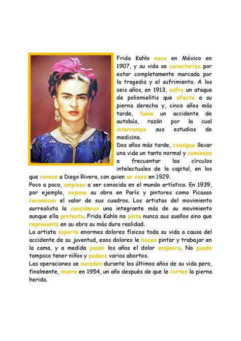 Frida Kahlo Biography En Ingles Y Español | m 225 s de 1000 ideas sobre pasado simple en pinterest