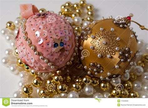 handmade pink and gold christmas tree ornaments stock