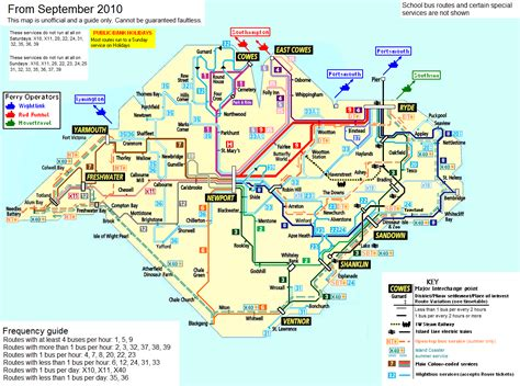Printable Road Map Of Isle Of Wight | file isle of wight public transport map september 2010 png