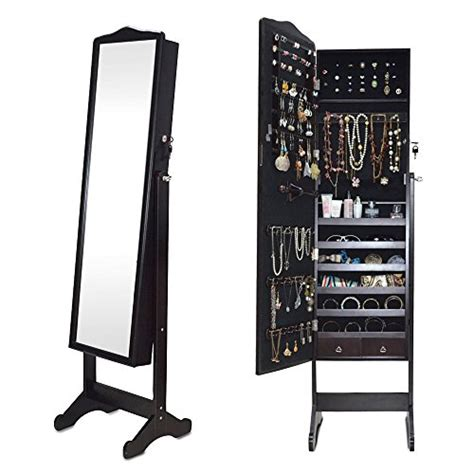 jewelry full length mirror armoire dark brown floor standing jewelry cabinet full length