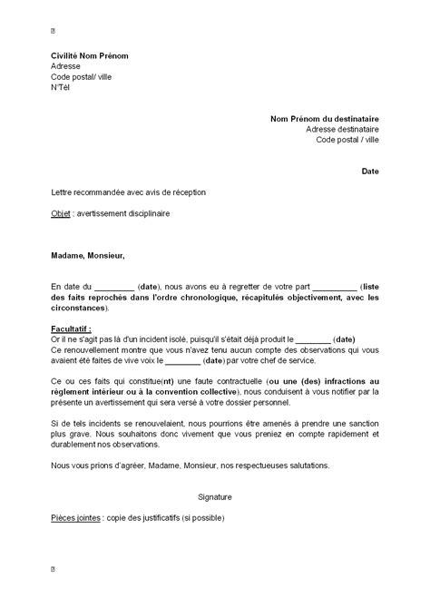 Lettre De Blame Modèle modele lettre de blame gratuit document