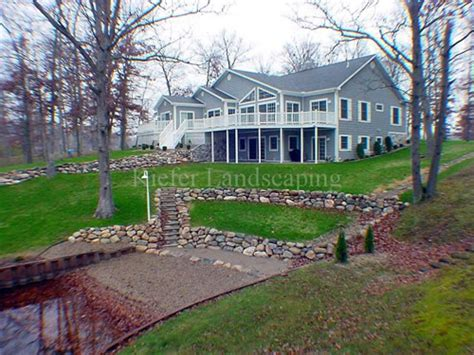 Lakefront House Plans Sloping Lot natural stone retaining wall on a slope