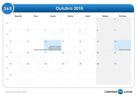 Calendario 365 Dias 2016 Calend 225 Outubro 2016