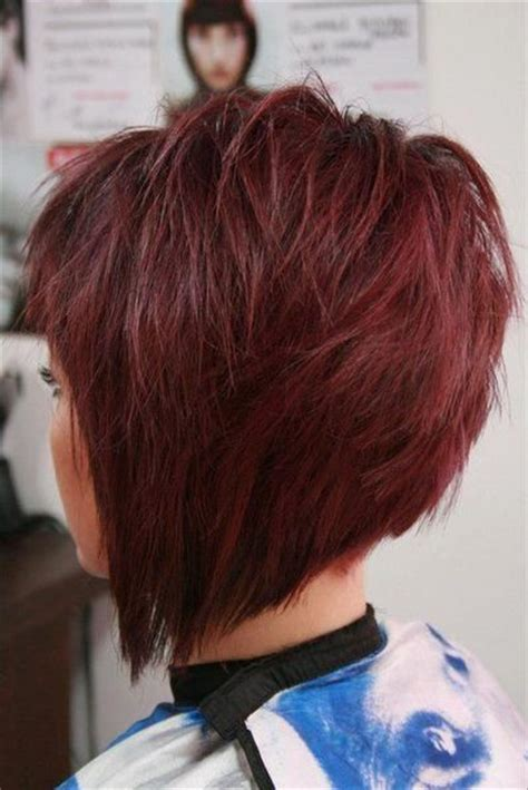 super stacked angled bob super cute red hair in a stacked angled bob hair tips