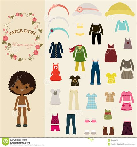 black doll dress up dress up paper doll with template stock vector