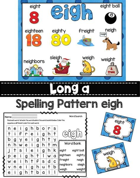 spelling pattern word wall long a eigh ea ei and ey spelling patterns word work